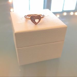 Pandora pave puzzle heart ring - rose gold colour